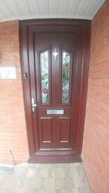 Brown on white upvc double glazed multi point locking with new snap locks