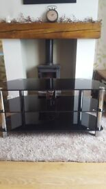 TV Stand- black glass and chrome