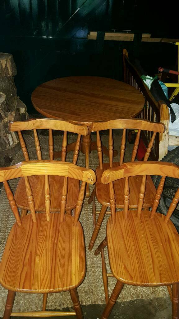 Solid pine pedestal table and farmhouse chairsin Consett, County DurhamGumtree - Solid pine pedestal table and 4 farmhouse chairs. Used but in very good condition. Table diameter is just short or 3ft (35inches) £80.00 ono