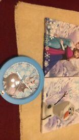 Disney Frozen Canvasses and Clock