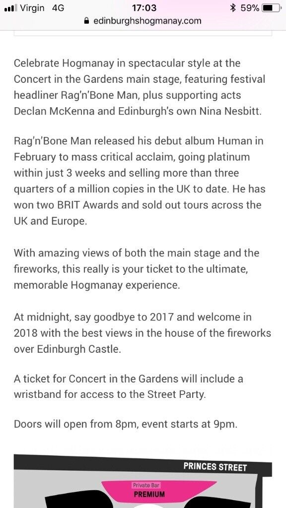 Hogmanay Party in the Gardens Rag n Bone