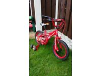 "Boys 14 "" bike cars with stabilizers like new can deliver for a small charge"