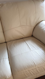 3 + 2 Seater cream Leatherette Sofas
