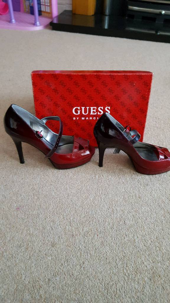 Guess Red/ scarlet patent heels