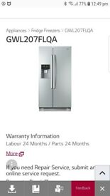 LG American Fridge Freezer, silver. Digital ice machine. £225