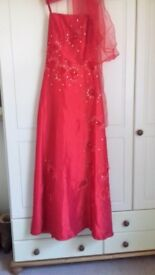 Red evening dress with matching chiffon scarf size 20. Worn once for an event.