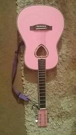 3/4 Acoustic pink guitar