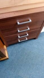 New walnut effect chest of 4 drawer