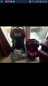 Travel system pram and car seat