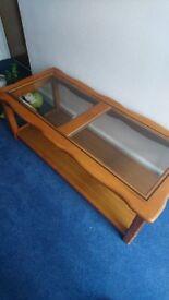 Light brown wood & glass coffee table