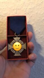 WW2 Faithful Service Medal - Makers Mark and box