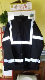 HI VIZ JACKET HIGH VISIBILITY REFLECTIVE WATERPROOF WORKWEAR PADDED HOODED 2XL