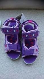 Toddler girls riptape flashing sandals M&S new