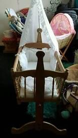 Swinging baby crib with brand new mattress