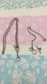 9ct White Gold T Bar Necklace & Bracelet Set