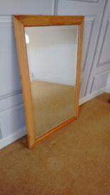 """Mirror, golden pine frame, 34"""" (86cm) x 22"""" (56cm), frame unmarked"""