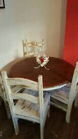 Shabby chic round table and chairs to sit 4 people