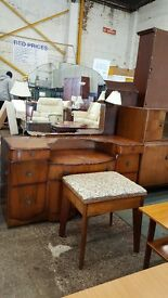Large vintage dressing table and stool set