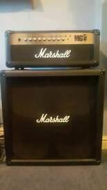 Marshall mg100hfx guitar amp with matching cab