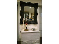 Large Huge Good Quality Louis Baroque Rococo Mirror Black Double Frame
