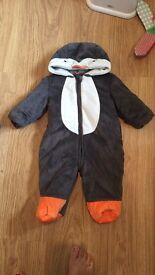 Penguin baby snowsuit 3-6 months