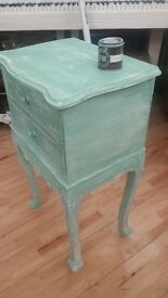 Original vintage French bedside table wooden handcarved