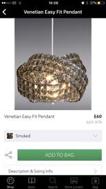 Next Venetian Easy Fit Pendant in Smoked Glass