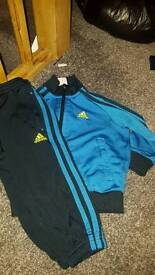 Blue and navy blue adidas tracksuit