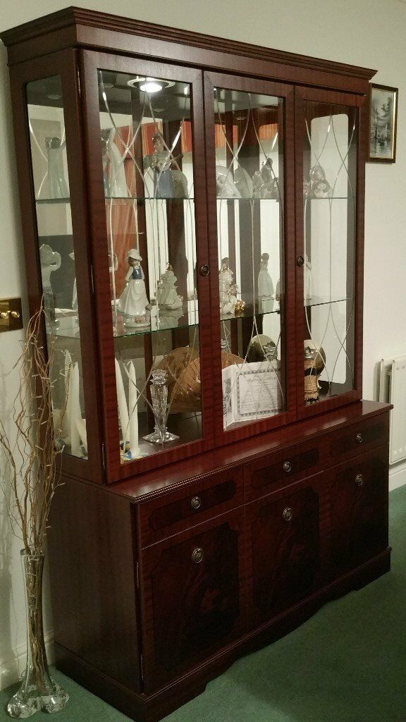 Dark wood glass fronted dispay cabinet