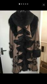 Real fur and suede with coat size 12