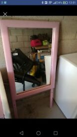 Pink solid 3 drawer dresser with mirror