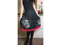 Next Black Knee Length Skirt with Multi Coloured Floral Embroidery & Back Bow