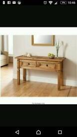 Mexican pine console table