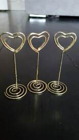 Gold heart shaped photo holders/ place card holders