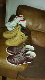lacoste leather boot /adidas fabric boots and cat leather boot used good condition