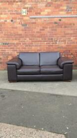 Italian leather sofa set in dark brown.