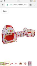 Pop up play tent ball pit and tunnel