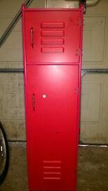 red wooden locker suitable for kids bedroom for storage.