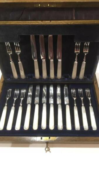 Solid silver & mother of pearl cutlery set  for sale  Bangor, Northern Ireland
