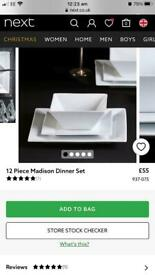 BRAND NEW NEXT 12 PIECE DINNER SET FOR 4