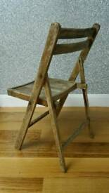 Old Rustic wooden vintage style folding wooden chair good upcycle project