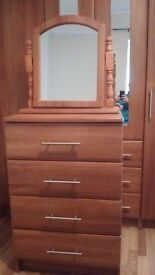 Wardrobe dresser mirror and two bedside cabinets