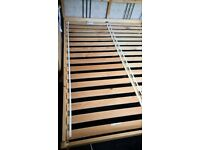 Solid Pine King size bed frame with mattress