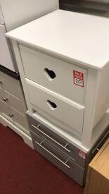 Mia 2 drawer bedside - White (left side panel big damage )