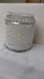 Wedding Centrepiece Jars, Tea Light holders with LED Candles