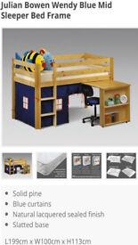 Julian Bowen Mid Sleeper Bed with Desk [Solid Pine]