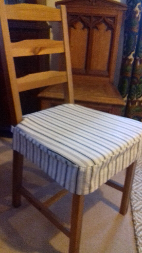 Ikea Dining Chair Seat Cushions With Washable Blue And Off White Covers