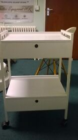 Beauty Salon Trolley - As New White Wood and two locking drawers