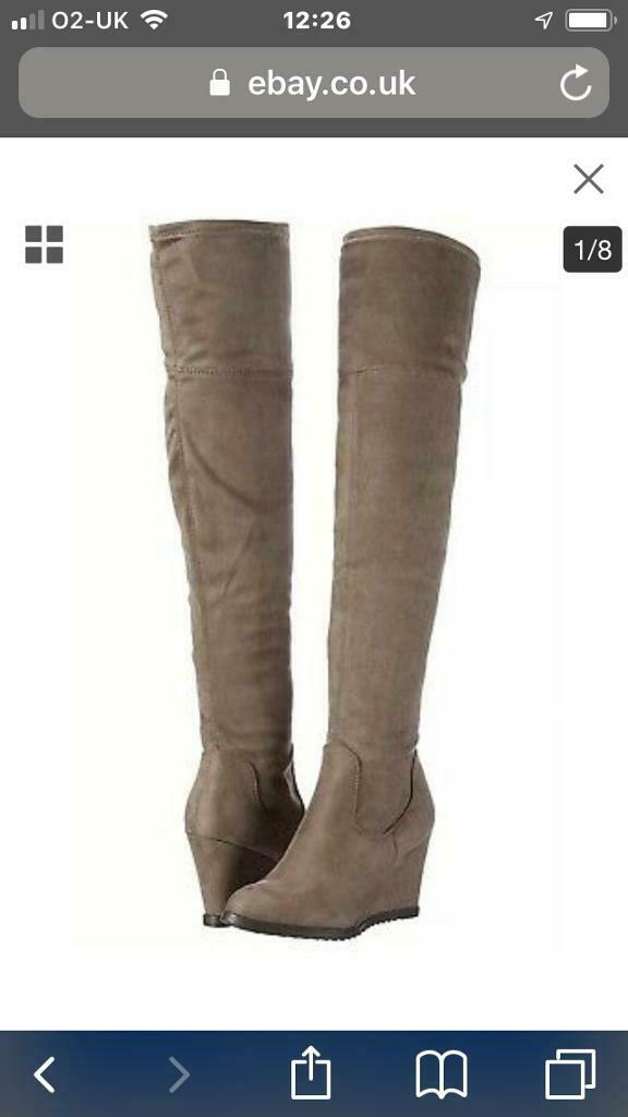 c20ebbeadac NEW Miss KG Vivienne Taupe Suede Effect Over the Knee Wedge Boots