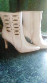 ladies white high heel boots